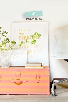 Stripe up that old steamer trunk with this fun #DIY!