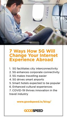 5G brings faster connections to even the most remote locations on the planet. 🌐 5G will influence your travel #Internet experience by: facilitating city interconnectivity, enhancing corporate connectivity, driving smart airports, making hotels smarter, enhancing cultural offering, etc. 🧳 Learn more from Goodspeed's latest blog. Cultural Experience, Airports, You Changed, Travel Inspiration, Traveling By Yourself, Remote, Innovation, Hotels, Internet