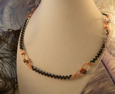 Woven Copper and Teal Wire Choker with extension.