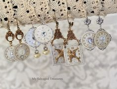 Repurposed jewelry made from old watch parts, clock faces, hardware and other vintage bits and pieces.