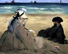 """ On the Beach Édouard Manet (French, Oil on canvas. At Berck-sur-Mer, Manet had his wife and his brother pose for him on the beach; grains of sand are. Edouard Manet, Post Impressionism, Impressionist Art, Renoir, Art Français, Art Reproductions, Strand, Art History, Art Museum"