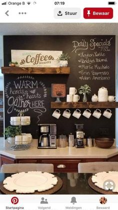 Chalkboard Coffee bar with Rae Dunn - Ingrid Ellis -You can find Coffee and more on our website.Chalkboard Coffee bar with Rae Dunn - Ingrid Ellis - Coffee Station Kitchen, Coffee Bars In Kitchen, Coffee Bar Home, Home Coffee Stations, Bar Kitchen, Coffee Bar Ideas, Coffee Kitchen Decor, Coffee Bar Station, Kitchen Ideas
