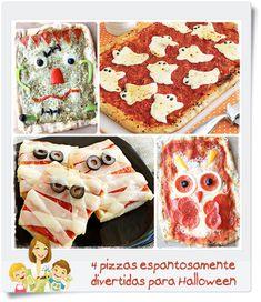 """4 recetas de pizzas """"terroríficamente"""" buenas Recetas Halloween, Halloween Pizza, Halloween Town, Halloween Treats, Halloween Decorations, Good Food, Yummy Food, Yummy Yummy, Fun Food"""