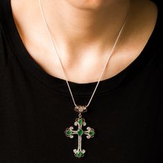 Turkish Authentic Cross Jewelry Handmade  925 Sterling Silver Pendant With Emerald, Zircon Stone For Her by ETHEIA on Etsy https://www.etsy.com/listing/216274471/turkish-authentic-cross-jewelry-handmade