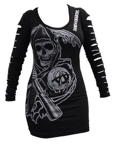 BikerOrNot Store - Sons of Anarchy - Ladies Slashed Long Sleeve Reaper Shirt Vetement Hip Hop, Sons Of Anarchy Reaper, Dress To Impress, Style Me, Long Sleeve Shirts, Cool Outfits, Sleeves, How To Wear, Biker Fashion