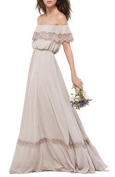 Women's Wtoo Inna Off The Shoulder Chiffon Blouson Gown - StylishOffer Taupe Maxi Dress, Neutral Dress, Neutral Bridesmaid Dresses, Bridesmaid Dresses Online, Wedding Dresses, Bridesmaids, Reception Dresses, Ruffle Dress, Blush Gown