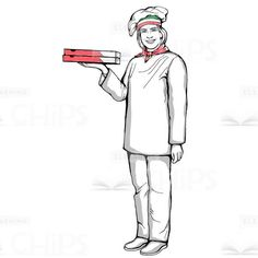 Chef Holding Pizza Hand-Drawn Vector Character #handdrawn #artwork #illustration #vector #character #pizzamaker #pizzaiolo #cook #chef #eLearningchips