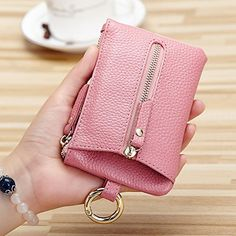 Amazon.com: Aladin Womens Leather Key Case/ Zipper Coin Purse/ Card Holder Wallet Pink: Shoes