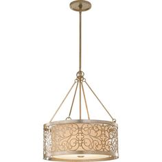 Arabesque Silver Leaf Patina Four Light Drum Pendant Murray Feiss Drum Pendant Lighting Ce