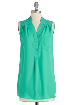 Girl about Scranton Tunic in Turquoise. From the office to your favorite margarita-sipping spot, you entertain others in the effortless style of thisbreezy turquoise-green top - a ModCloth exclusive! #green #modcloth