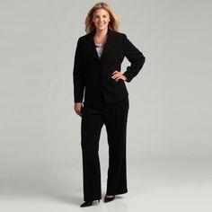 Evan Picone Plus Size Suit, Pinstripe Jacket & Pants - Plus Size ...
