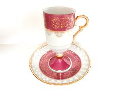 Pink Teacup Lusterware Demitasse by ShoppeAroundTheWorld on Etsy, $18.99