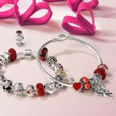 Bling Jewelry 925 Silver Red Ruby Color Crystal Be Mine Heart Bead Fits Pandora