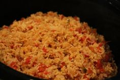 This Mexican rice, made for our church's taco bar camp scholarship fundraiser, was easy to make and surprisingly good.