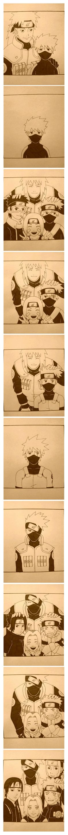 Kakashi Story, I feel so sad for him :( :( :( We are here for you Kakashi <3 <3 T^T | Sakumo, young Kakashi, Team Minato, ANBU, jounin, Team 7, Team Kakashi