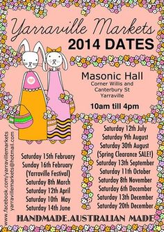 Yarraville Markets dates for 2014