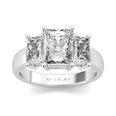 Luxurious Sterling Silver Princess Cut White CZ 3 Stone Ring