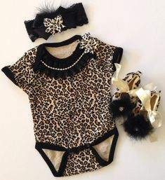 Newborn baby girl take me home outfit leopard print bodysuit ruffled rhinestone bow lace headband leopard furry shoes on Etsy, $52.50