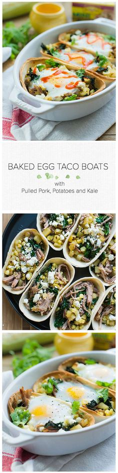 Baked Egg Taco Boats With Pulled Pork, Potatoes And Kale Taco Night Just Got More Fun These Wholesome Taco Boats Are A Weeknight Meal The Whole Family Will Love. Best Egg Recipes, Kale Recipes, Best Dinner Recipes, Side Dish Recipes, Recipies, Best Breakfast, Breakfast Recipes, Taco Boats, Grilling Sides