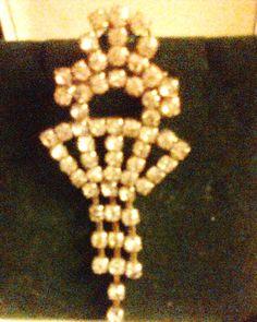 exquisite vintage 50's large diamante pin