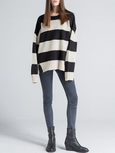 #StyleWe Shop Sikya Sweaters - Beige Stripes Knitted Long Sleeve Sweater online. Discover unique designers fashion at AdoreWe.net.