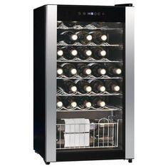 Equator - 33-Bottle Wine Cooler - Black/Stainless-Steel - Larger Front