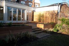 Raised cedar planters London terrace
