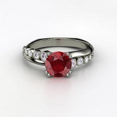 Gemvara Platinum Isabella Ring with Ruby and Diamonds