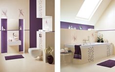 Elementy mozaiki w łazience.  fiolet, interior, remont, inspiracja, dom http://www.paradyz.com/plytki/lazienkowe/querida-querido https://www.facebook.com/CeramikaParadyz