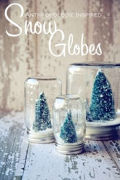Christmas Crafts - DIY Snow Globes. But does anyone know what liquid would be suitable, if you want to shake it to watch the snow fall (like classic snow globes)?