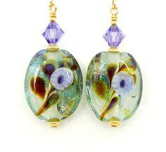 Violet Purple Earrings Lampwork Earrings Glass by BeadzandMore, $31.00
