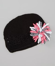 Loving this Black & Pink Crochet Beanie & Clip on #zulily! #zulilyfinds