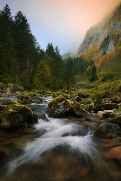 """Autumn Stream - """"Autumn Stream"""" - Appenzeller Land - Swiss Alps  Something I have less photographed are rivers and streams. One more reason I want to present the photo to you. I also was attracted by the picturesque autumn look. I chose the X-shaped composition, which in my eyes, rounded off the picture. About half an hour after sunrise the higher fog was still partially illuminated in warm colors. Together with colder, blue tones in the background.  Prints and licensing available.  <a…"""