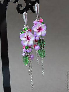Купить Серьги сиреневые цветы - цветы, цветы из полимерной глины, полимерная глина, украшения