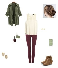 """army green and  maroon"" by emilyk217 ❤ liked on Polyvore featuring 7 For All Mankind, H&M, American Eagle Outfitters, Essie, OPI, Sydney Evan, Tory Burch and Kate Spade"