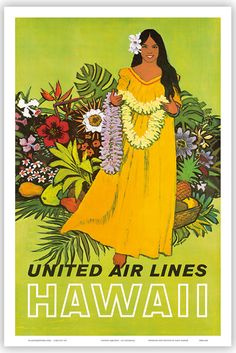 One Kings Lane Vintage United Air Lines Hawaii Travel Poster Hawaiian Woman, Hawaiian Art, Vintage Hawaiian, Hawaiian Quilts, Illustrations Vintage, Retro Poster, Poster Vintage, United Airlines, Vintage Travel Posters