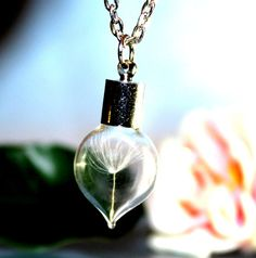 Tiny glass HEART with One Special Wish Dandelion от SweetyLifeShop