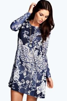 Nicole Long Sleeve Printed Swing Dress