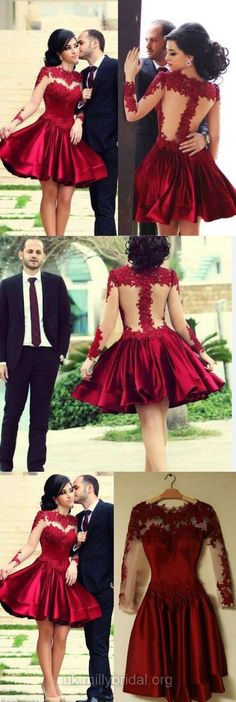 Lace Prom Dresses Red, Short Party Dresses A-line, Satin Cocktail Dresses Modest, 2018 Homecoming Dresses Cheap