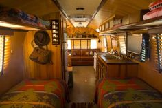 Traditional double twin. Note the open areas for storage above. Added storage, without ruining the awesome ceiling lines of an airstream.