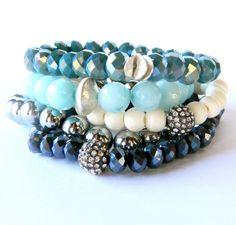 Navy rondelle crystal bead stretch bracelet by Studio3712Jewelry