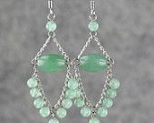 Chandelier Earrings jade green beaded chinese dangle stone. I wonder if these will work with beads instead of chains???