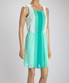 Another great find on #zulily! Teal & White Bold Stripe Cinched Dress #zulilyfinds