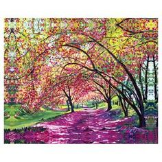 """Add a pop of style to your foyer or dining room with this eye-catching canvas giclee print, showcasing a cherry tree-lined street.      Product: Giclee printConstruction Material: Canvas and engineered woodFeatures:  Comes ready to hangCanvas is stretched around a 1.5"""" stretcher barGallery-wrapped Dimensions: 32"""" H x 40"""" W x 1.5"""" D"""