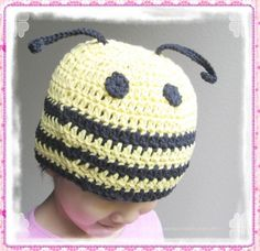 Pattern in PDF crocheted baby honey bee beanie hat -- Newborn