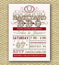 Vintage Country Western BBQ Bridal Shower/Wedding or Birthday Invitation -I think I might be able to DIY!
