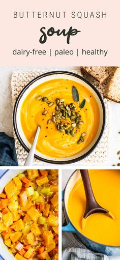 This creamy butternut squash soup pairs butternut squash with coconut milk, carrots, fresh ginger and sage for delicious soup with a vibrant orange color. Dairy-free and vegan. Healthy Thanksgiving Recipes, Good Healthy Recipes, Butternut Swuash Soup, Coconut Milk Soup, Bird Food, Easy Soup Recipes, No Calorie Foods, Fresh Ginger, Food Inspiration
