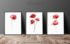 Hey, I found this really awesome Etsy listing at https://www.etsy.com/listing/235873272/red-poppies-set-of-3-abstract-flower