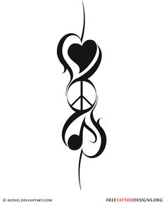 Peace and hearts tattoo design  Has all the important stuff - love, peace & music.