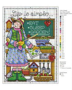 0 point de croix femme tableau la vie est simple - cross stitch lady board, life is simple